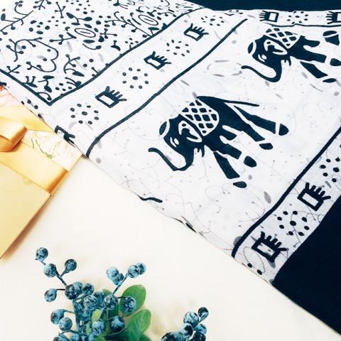 Khăn choàng vải lanh cao cấp 180*100CM- họa tiết voi