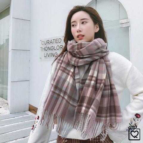 Khăn quàng cổ len Cashmere kẻ sáng màu Hàn Quốc 180*70cm