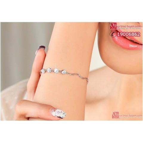 Lắc tay bạc đá thủy tinh