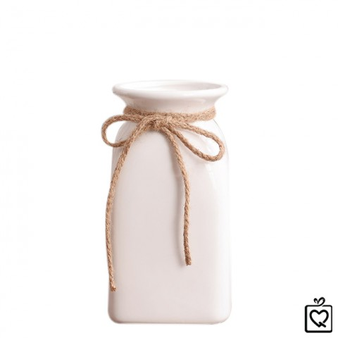 Lọ hoa gốm sứ trắng phong cách zakka nơ dây gai