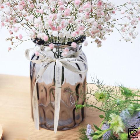 Lọ hoa thủy tinh zakka vân tổ ong