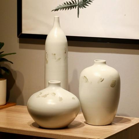 Bộ 3 bình hoa trang trí gốm sứ cao cấp - Tinh khôi sương mai