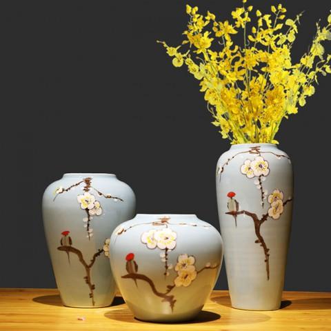 Bộ 3 bình hoa trang trí gốm sứ cao cấp - Cành lê trắng