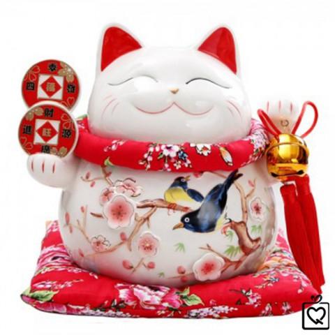 Mèo Thần Tài giơ 2 tay - Tài Lộc Phú Quý 9005 - 25cm