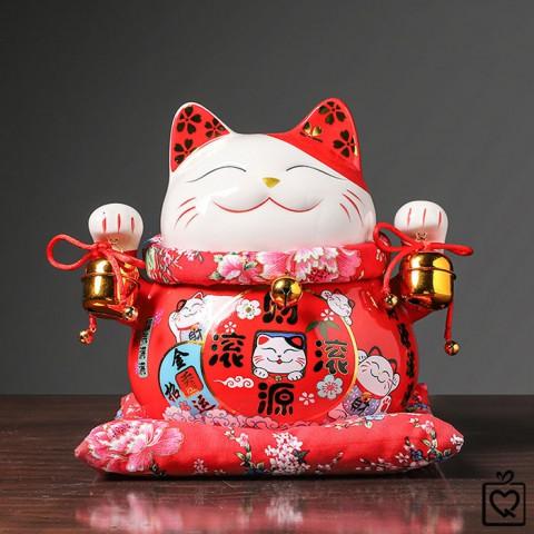 Mèo thần tài đỏ Tấn Tài Tấn Lộc size lớn 25cm