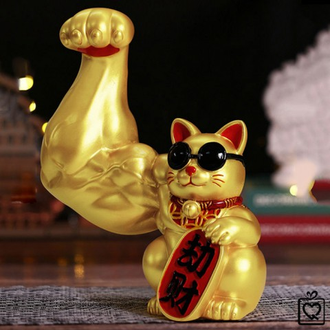 Mèo thần tài vàng tay cơ bắp Đại Chiêu Tài - 23cm