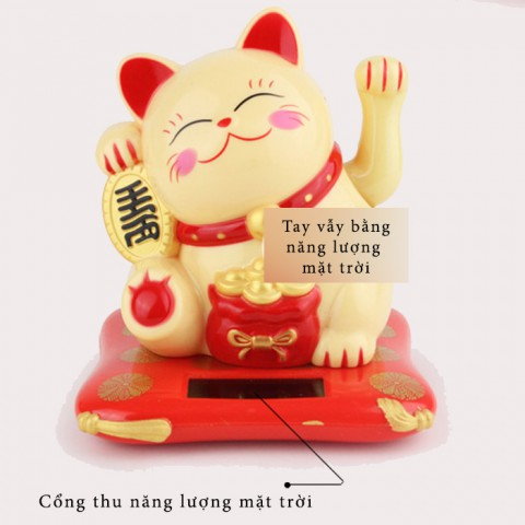Mèo thần tài Kim Tiền vẫy tay năng lượng mặt trời