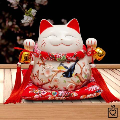 Mèo Thần Tài giơ 2 tay - Vinh Hoa Phú Quý - chuông vàng 25cm