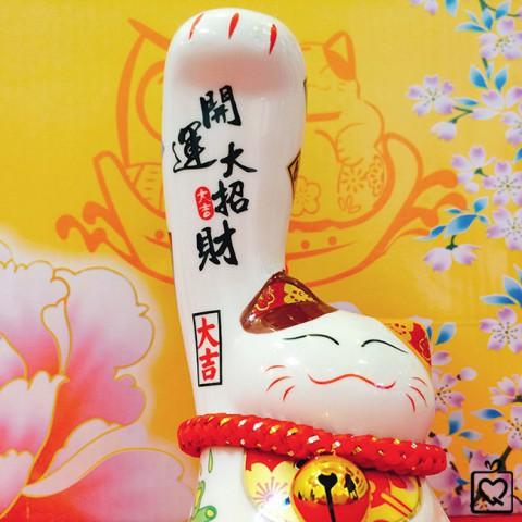 Mèo thần tài tay phải lớn Khai Vận Đại Chiêu Tài sw444-16cm