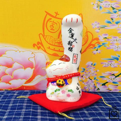 Mèo thần tài tay trái lớn Kim Vận Đại Chiêu Phúc SW 444 - 16cm