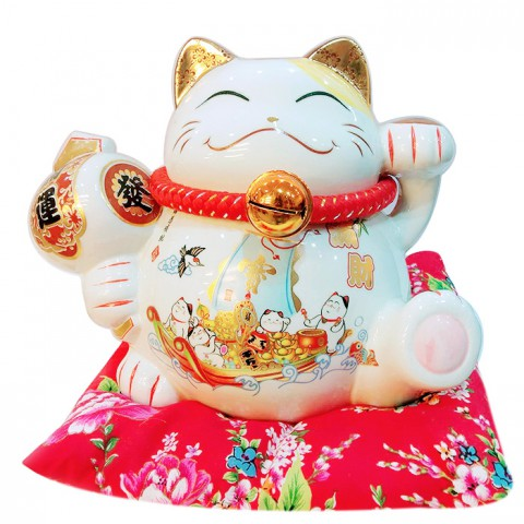 Mèo thần tài-Thuyền chở đầy vàng 9050-19cm