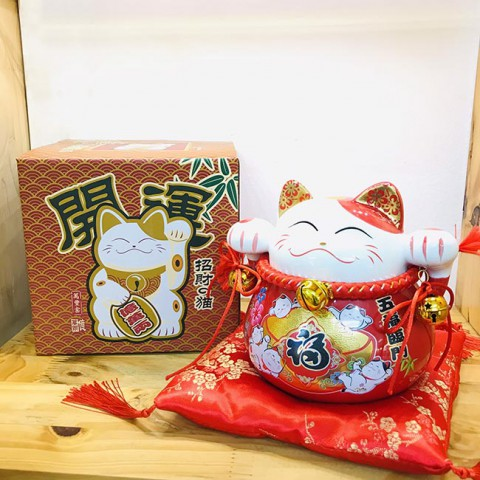 Mèo thần tài đỏ - Ngũ phúc lâm môn - 70184 - 15cm
