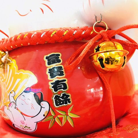 Mèo thần tài đỏ - Phú quý hữu dư 70183 - 15cm