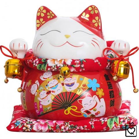 Mèo Thần Tài đỏ giơ 2 tay - Quạt Kim Vận Chiêu Tài 25cm