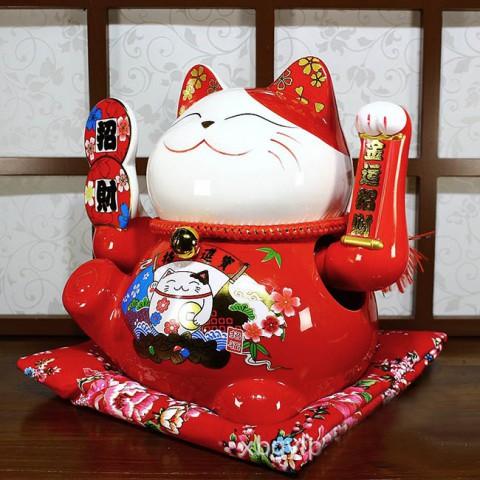 Mèo đỏ vẫy tay-Kim vận chiêu tài-25cm