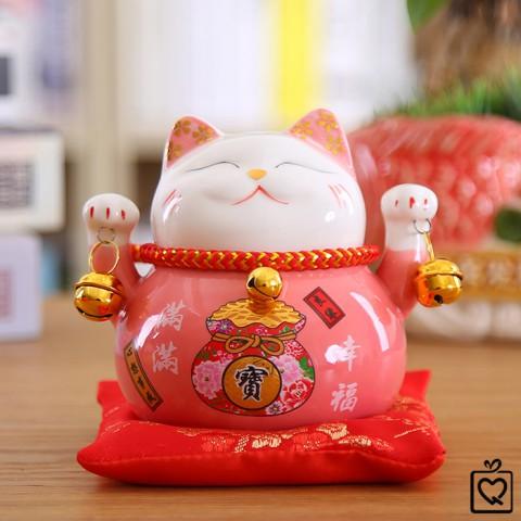 Mèo thần tài Hồng Phúc Lâm Môn - 10cm