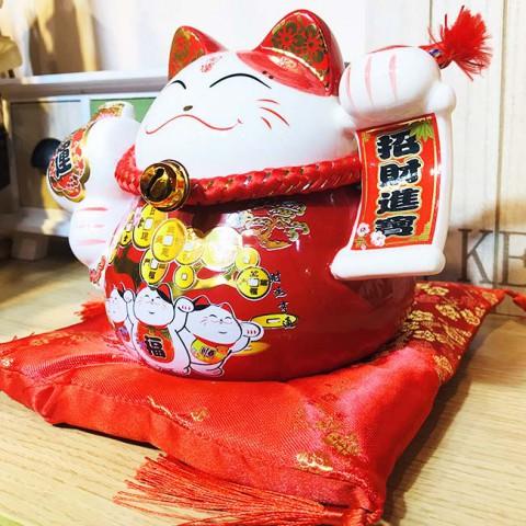 Mèo thần tài đỏ-Phát tài phú quý 70307Y-15cm