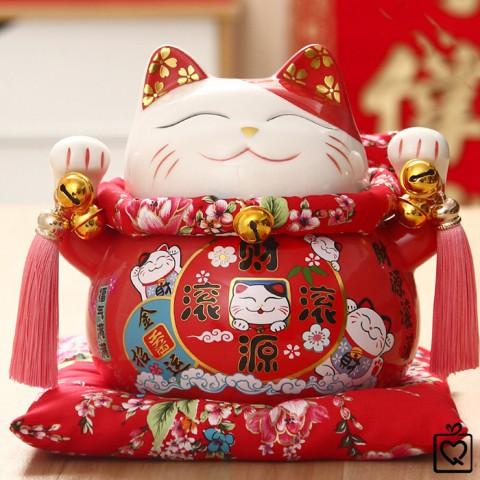 Mèo thần tài đỏ Tấn Tài Tấn Lộc - 21cm