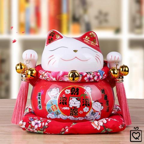 Mèo thần tài đỏ Tấn Tài Tấn Lộc - 14cm