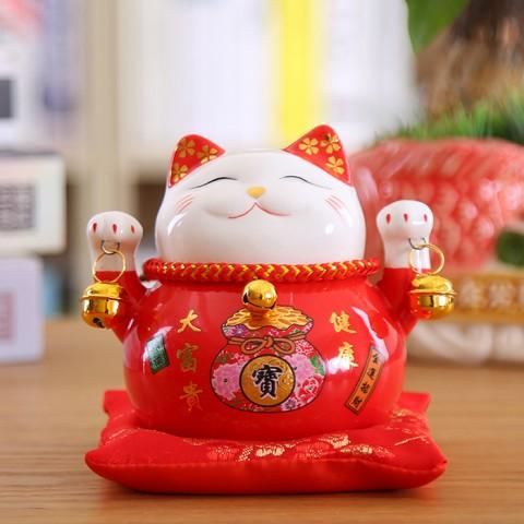Mèo thần tài đỏ Vạn Sự Như Ý - 10cm