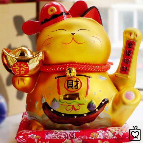 Mèo thần tài vẫy tay vàng - Tài Lộc Vô Biên 9001-24cm