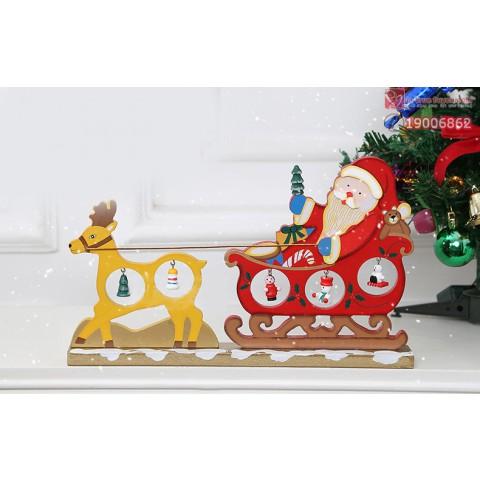 Mô hình xe tuần lộc ông già Noel bằng gỗ