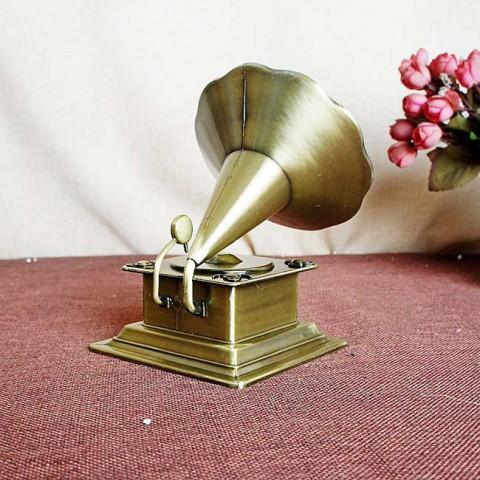 Mô hình máy hát loa kèn vàng đồng 14cm