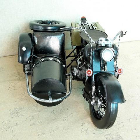 Mô hình xe máy 3 bánh Sidecar kim loại 43cm
