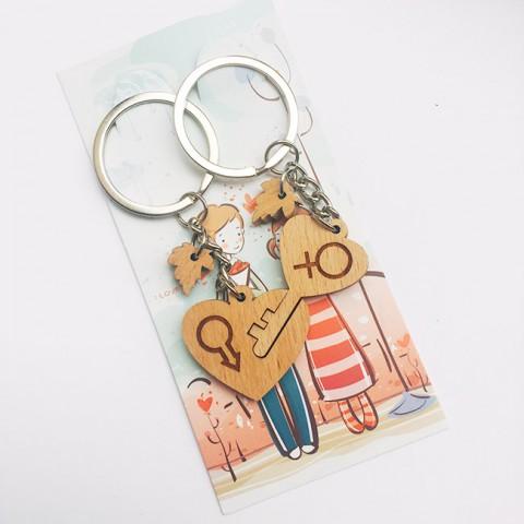 Móc khóa đôi gỗ chìa khóa trái tim nam-nữ