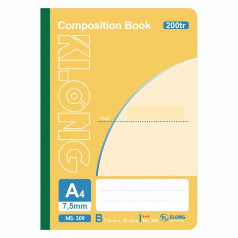 Sổ may dán gáy 200 trang A4 Compostion Book KLong - MS309
