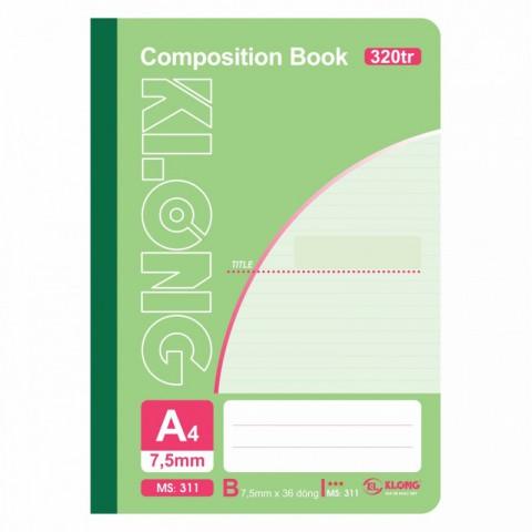 Sổ may dán gáy 320 trang A4 Compostion Book KLong - MS311
