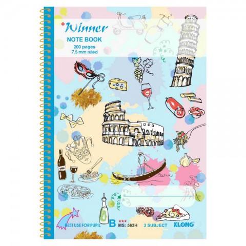 Vở kẻ ngang B5 lò xo đơn 200 trang Winner KLong - MS563H