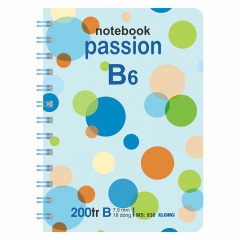 Sổ lò xo kép 200 trang B6 bìa cứng KLong - MS938