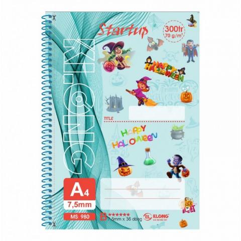 Sổ lò xo đơn A4 300 trang xé kẻ lề Startup KLong - MS980