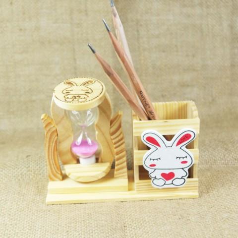 Set ống đựng bút gỗ kèm đồng hồ cát