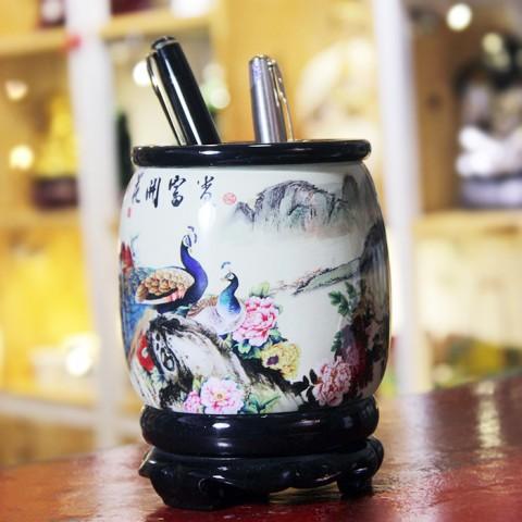 Ống đựng bút nghệ thuật - Hoa khai phú quý