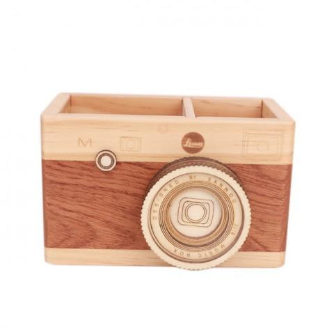 Ống đựng bút 2 ngăn hình máy ảnh gỗ