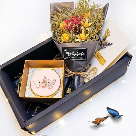Quà tặng Valentine Hoa khô tự nhiên & Gương trang điểm