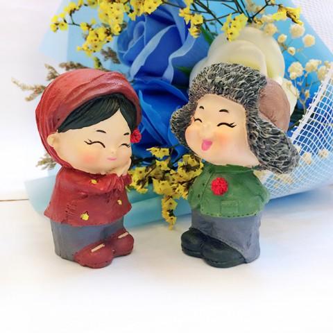 Quà tặng Valentine Hoa sáp hồng xanh đèn led & Tượng tỏ tình