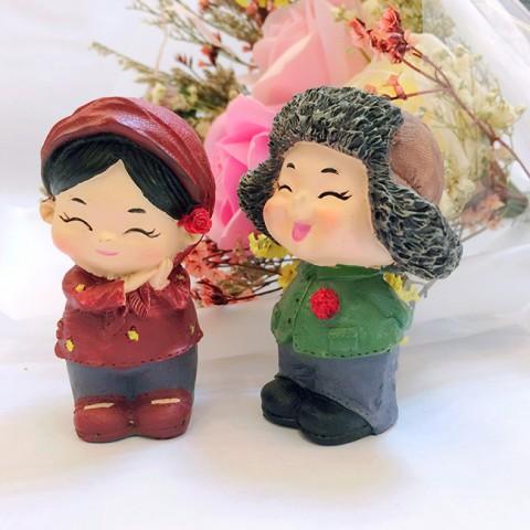 Quà tặng Valentine Hoa sáp hồng phấn đèn led & Tượng tỏ tình