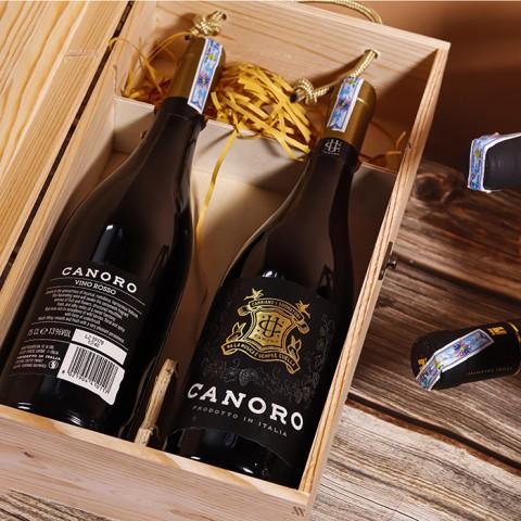 Rượu vang Ý Canoro Vino Rosso - Kèm hộp rượu gỗ đơn