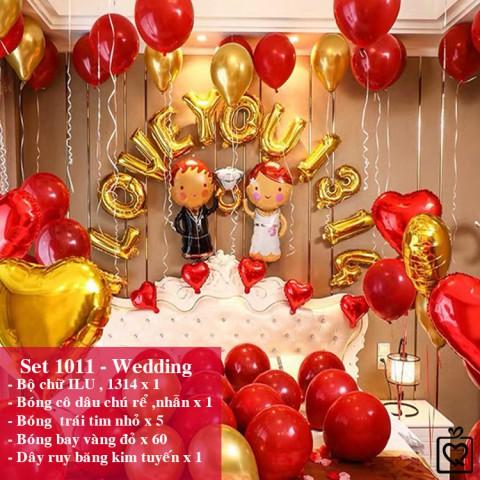 Bộ phụ kiện bóng trang trí phòng cưới tỏ tình cầu hôn nhiều mẫu - Tặng bơm băng dính