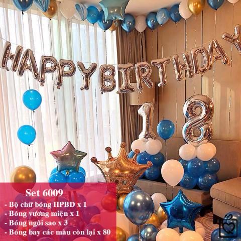 Bộ phụ kiện bóng trang trí sinh nhật Happy Birthday nhiều mẫu mới 2021 - Tặng bơm băng keo ruy băng