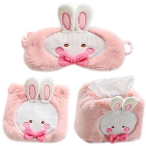Set quà tặng thỏ hồng (bịt mắt + túi đựng + bọc hộp)