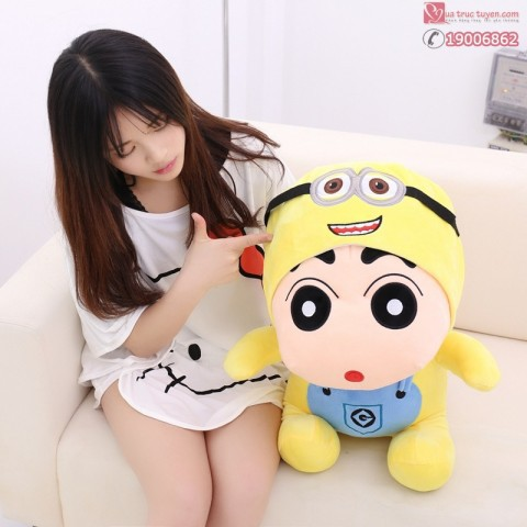 Gấu bông Shin đội lốt Minion-60cm
