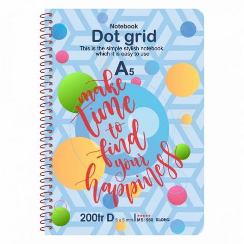 Sổ tay Dot Grid lò xo đơn thông điệp Tiếng Anh A5-200 trang