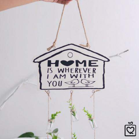 Tag gỗ ngôi nhà treo lọ thủy tinh - Trang trí sáng tạo
