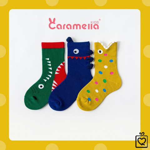 Tất trẻ em Baby Shark - Túi 3 đôi Caramella (3-5 tuổi)