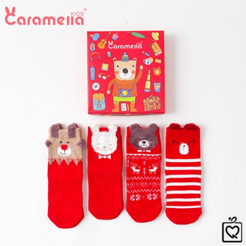 Tất trẻ em Caramella Món Quà từ Ông Già Noel - Hộp 4 đôi (3-5 tuổi)
