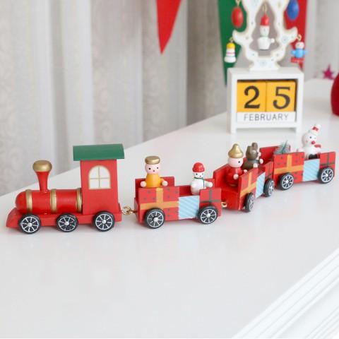 Mô hình tàu lửa gỗ giáng sinh